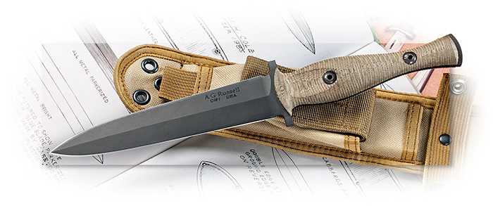AG RUSSELL - SANDBOX DAGGER - GREEN MICARTA HANDLE SCALES - BLACK DLC COATED BLADE