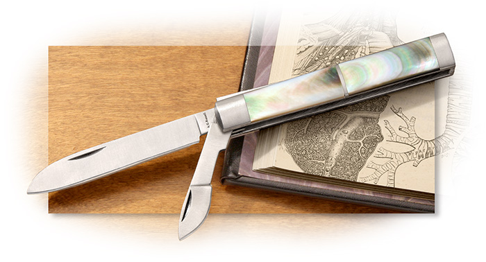 A.G. Russell Small Doctor's Knife with Black Lip Pearl Scales, Scalpel Blade, and pill crusher butt