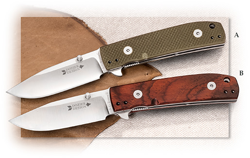 Drop point flipper EDC knife with deep pocket clip, in G10 or Cocobolo handle.