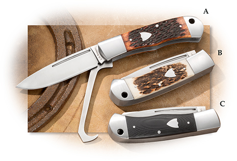 A. G. Russell Horseman's Knife with Hoof Pick and Pocket Clip in Stag, G10 or Jigged Bone