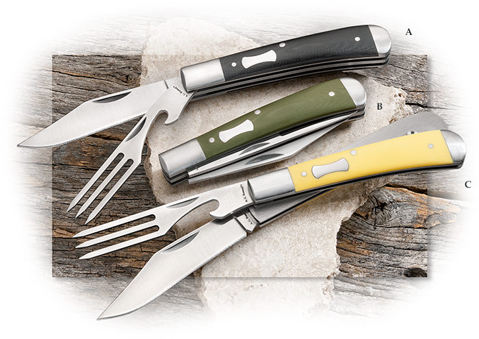 A.G. Russell Boxcar Jack Revised - Hobo knife w/ clip point knife & fork. Black or Green G10, Yellow