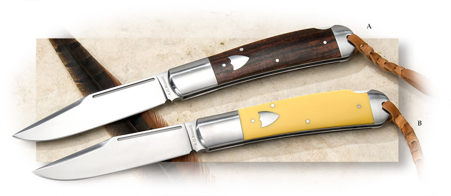 A G RUSSELL - LARGE FOLDING HUNTER WITH YELLOW DELRIN HANDLE