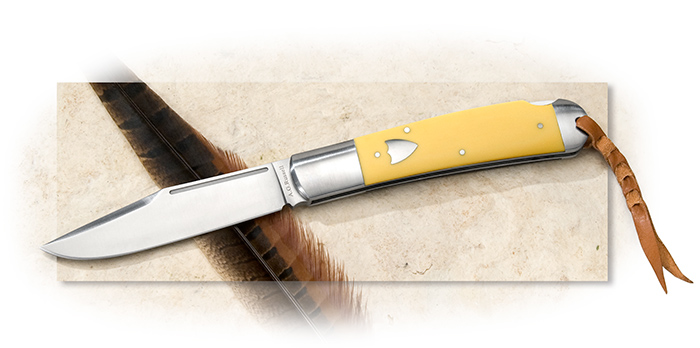 A.G. Russell Large Folding Hunter with Yellow Delrin