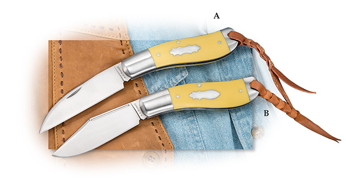 A.G. Russell™ Wharncliffe Blade Sowbelly with Yellow Delrin®