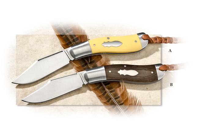 A.G. Russell Clip Point Blade Sowbelly with Yellow Delrin