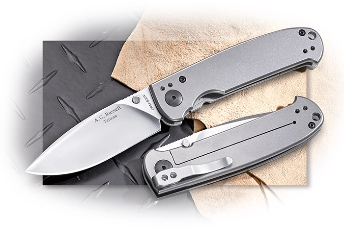AG Russell S30V Acies Titanium Framelock w/ angled thumbstuds, 4 way deep pocket clip, lanyard hole
