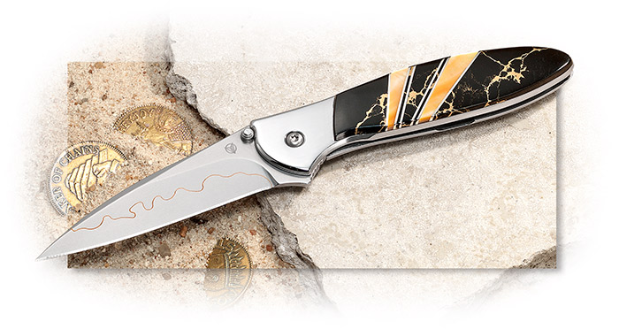 Santa Fe Stoneworks Kershaw Leek Aztec Gold with Composite Blade