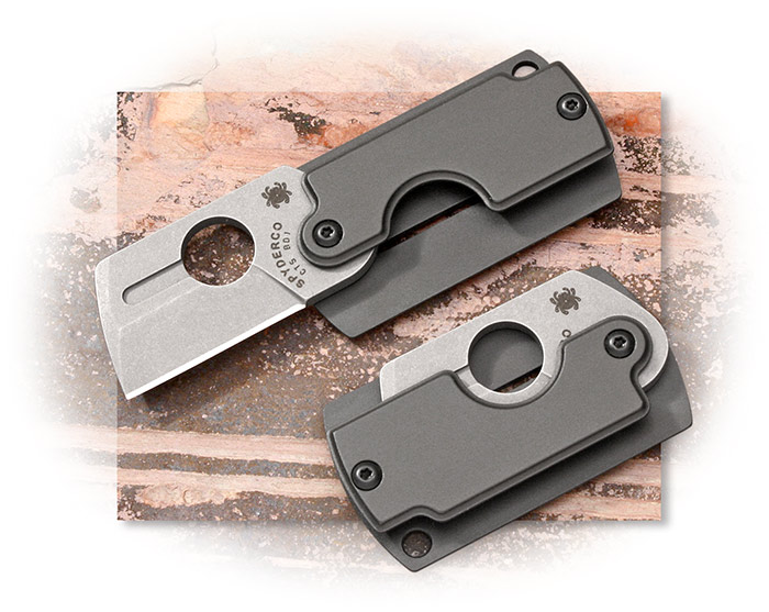 Spyderco Serge Panchenko dog tag, Dog Tag Folder, Gen4 , gray matte-finished aluminum handle scales
