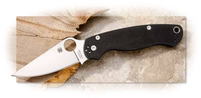 Spyderco Para Military 2 Black G-10 - Satin Blade