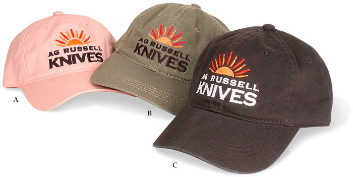 A.G. Russell Sunrise Logo Baseball Cap in black, olive green, or Pink Cotton. One size fits most