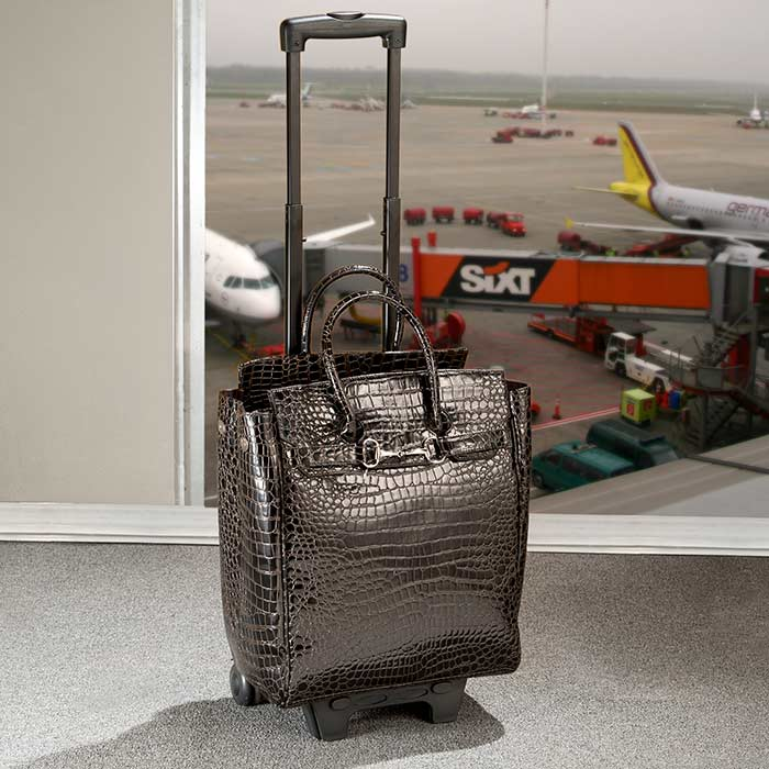 Brown Faux-Croc Upright Rolling Bag