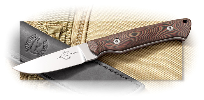 White River Knives Bakr Bilt Small Game Knife w/ CPM-S35VN steel and brown leather sheath